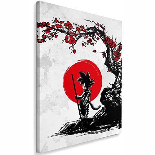 Feeby Wandbild 1 Teilig 70x100 cm Leinwand Bild Leinwandbilder Bilder Wandbilder Kunstdruck Saiyan Under The Sun DDJVigo Anime Grau