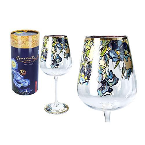 Carmani – Bonitas copas de vino decoradas con pintura 'lirios' de Vincent van Gogh 450 ml