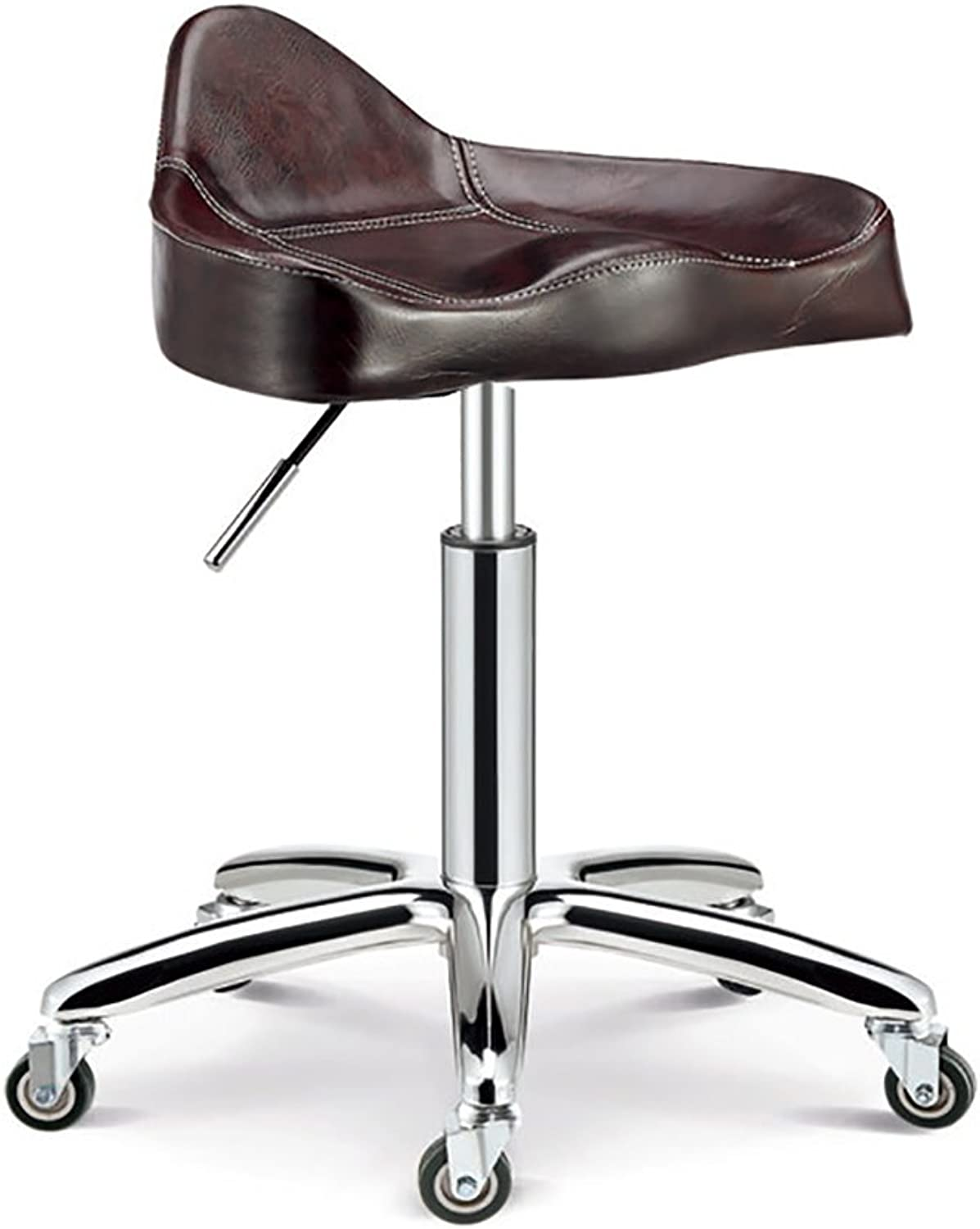 Nationwel@ Swivel Chair Beauty Roller Stool,Adjustable Height, with Wheels, 360 Degree redation, 10 cm Cushion, 4 Colours (color   Maroon, Size   44-56cm)