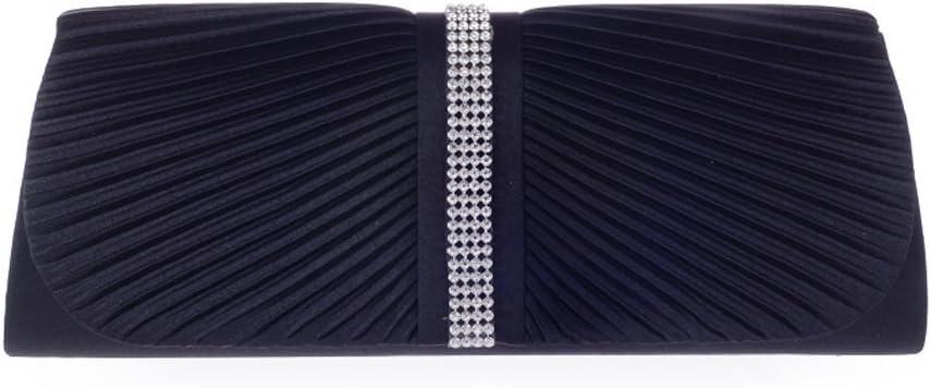 Womens Elegant Pleated Crystal Rhinestone Satin Handbag Evening Clutch Evening Bag Black