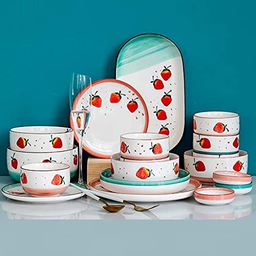 Juego de vajilla fina, juego de vajilla con plato de cena, juego de cena de porcelana, 25 piezas, juegos de platos y cuencos de cerámica con diseño de fresa, adecuados para inauguración de la casa y r