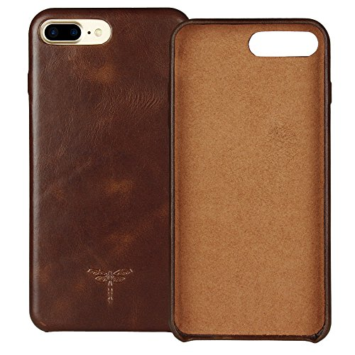 FRIFUN iPhone 7 Plus Case iPhone 8 Plus Case Genuine Leather Hard Back Case Thin Fit Snap Case Excellent Grip for iPhone 7 Plus / 8 Plus 5.5 inch (Dark Brown)