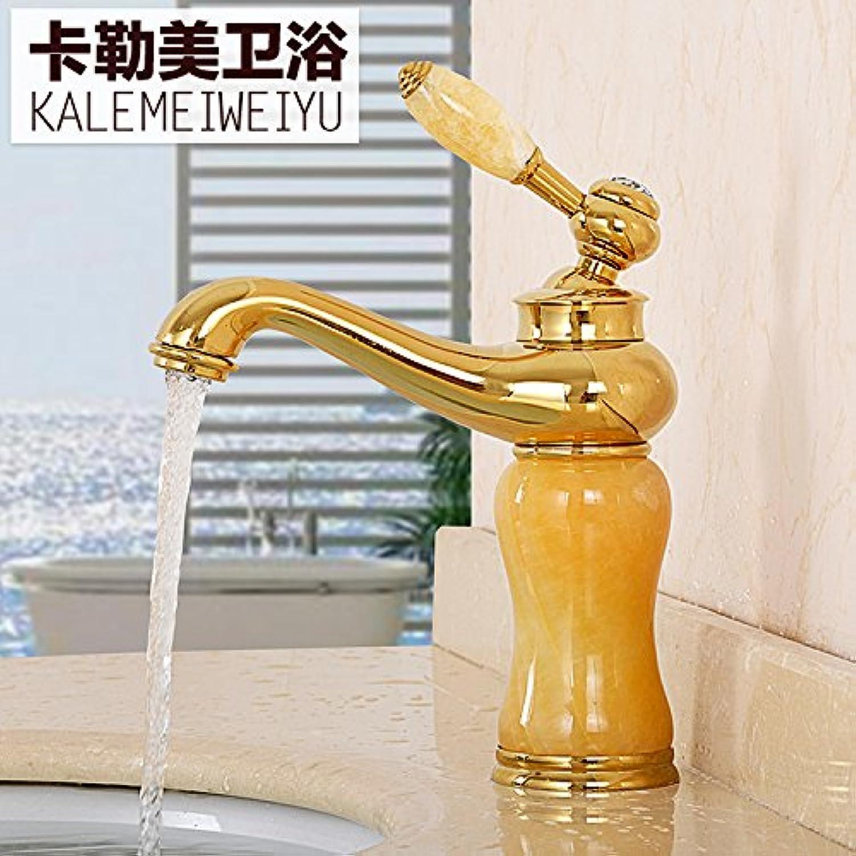 ROTOOY Wasserhhne Waschtischarmaturen Jade Kupfer Wasser Kalt Kalt VerGoldet Antik Unter Becken Wasserhahn, Goldener Topas B