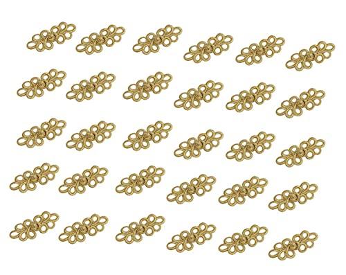 おしゃれ 中華風 チャイナ ボタン ゴールド 30ペア ケース付 中国結び チャイナドレス 衣類装飾 紐ボタン 花柄 服 金 DIY