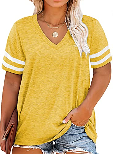 Happy Sailed Womens Plus Size Striped V Neck Short Sleeve T Shirt Loose Casual Tunic Blouse Tops,2X Yellow