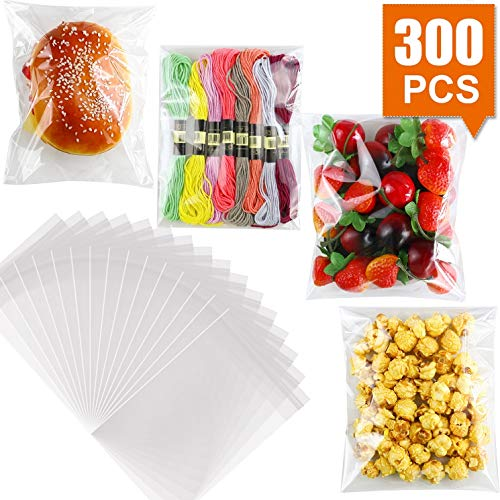 300 PCS 5'x7' Clear Resealable Cello/Cellophane Bags Good for Bakery, Candle, Soap, Cookie Poly Bags