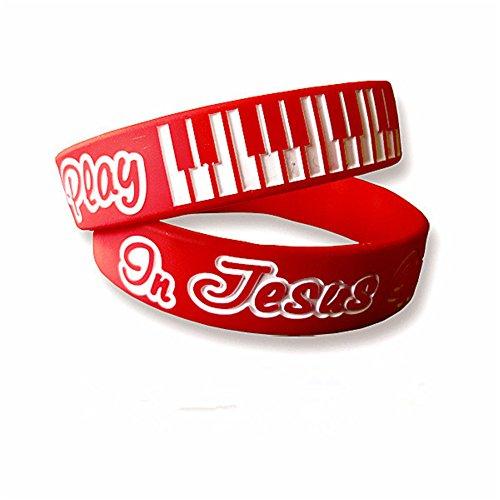LiFashion LF 2 Pack Religiöse Christus in Jesus Name I Play Piano Silicon Armband Gummi Armband Armreif für Erwachsene, Kinder, Geburtstag Taufe Geschenk für Sohn Tochter,Enkel,Rot