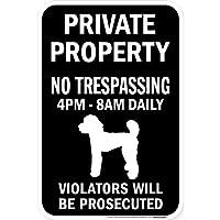 PRIVATE PROPERTY ブラックマグネットサイン:スタンダードプードル シルエット 英語 私有地 無断立入禁止