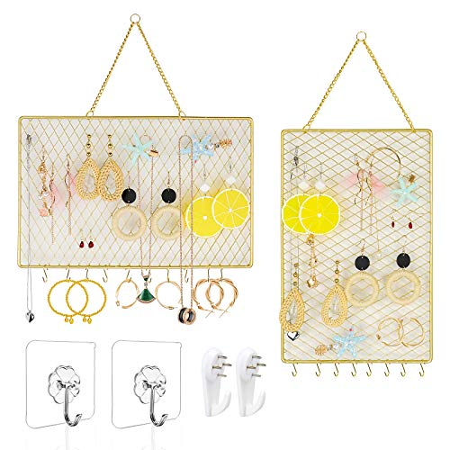 Yotako 2 Pack Earring Wall Holder,Wall Mounted Jewelry Organizer Hanging Necklaces Display Decorative Metal Mesh with 10 S Hooks for Girl Women (Included 2 Hooks and Anchors)