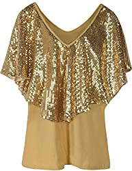 Gold Tunic Top Sequin Overlay Cold Shoulder