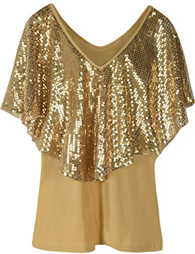PrettyGuide Women's Cold Shoulder Tunic Tops Sequin Cape Shimmer Bodycon Cocktail Party Top XL Gold
