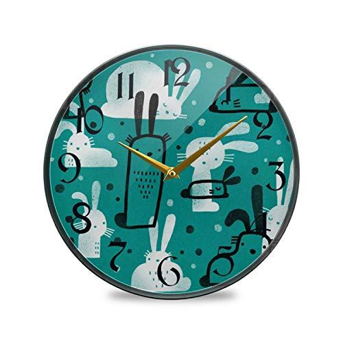 ART VVIES Reloj de Pared Redondo de 9,5 Pulgadas Que no Hace tictac silencioso Funciona con Pilas Oficina Cocina Dormitorio decoración del hogar-Lindo Conejito