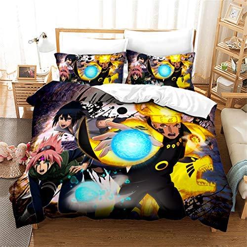 Naruto - Juego de funda de edredón para niños, 3 piezas, para cama de matrimonio, diseño de dibujos animados, incluye 1 funda de edredón, 2 fundas de almohada
