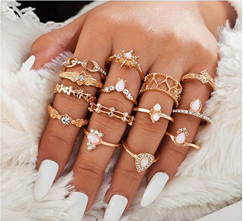 Chmier 14-teiliges Damenring-Set mit Knöchelringen, Bohemian-Ringen für Mädchen, Vintage-Stil, Edelstein-Kristall-Ringe, Gelenkknoten-Ring-Sets für Teenager, Party, täglicher Schmuck, Geschenk