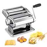 Pasta Machine, Stainless Steel Manual Pasta Maker Roller Machines with Adjustable Thickness Settings for Homemade Noodle Ravioli Spaghetti, Best kitchen Gadget Gift Includes Dough Cutter & Hand Crank
