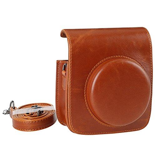 KALDA Tasche für Mini 90 Neo Classic Sofortbildkamera, Schutztasche aus Weichem Kunstleder mit Schulterriemen (Braun)