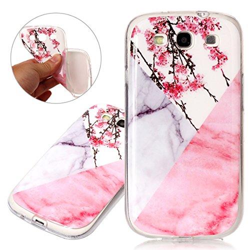 ISAKEN Compatibile con Samsung Galaxy S3 Cover - Ultrasottille Morbido TPU Custodia Cover Slim Anti Scivolo Custodia Protezione Posteriore Cover Antiurto Bumper Caso Marmo Naturale Case,Fiori Rosa