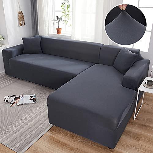 Funda de sofá elástica elástica de Color Liso Gris Necesita Pedido 2 Funda de sofá si Fundas Estilo L sofás con Chaise Longue Funda para sofá, Gris Oscuro, 3 plazas y 3 plazas