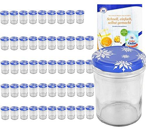 MamboCat 50er Set Sturzglas 435 ml to 82 Deckel mit Schneeflocken incl. Diamant Gelierzauber Rezeptheft Marmeladenglas Einmachglas Einweckglas