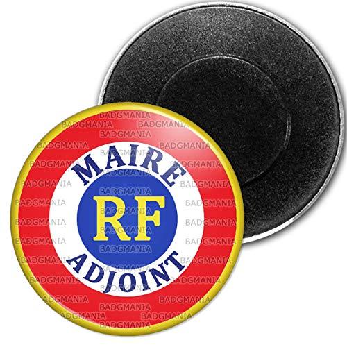 Badgmania Magnet Aimant Frigo 5.9 cm Cocarde RF Bleu Blanc Rouge Maire Adjoint Ecriture Bleue