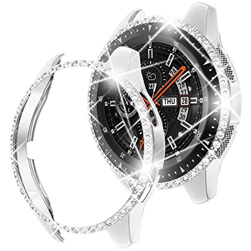 Goton Compatible for Samsung Galaxy Watch 46mm Case Bling, Women Crystal Diamond Watch Face Cover Shiny PC Case Protector for Galaxy Watch 46mm Bumper (Silver, 46mm)