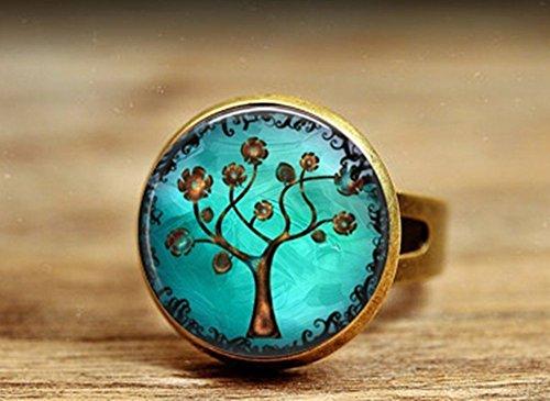 petit un compact Livraison gratuite Vintage Cameo Antique Bronze Copper Tree Art.  Table à anneaux en cuivre…