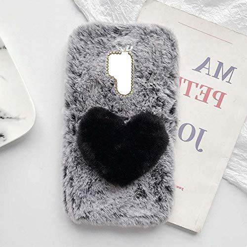 YHY Linda Funda Teléfono con Forma Corazón Felpa para ASUS ZenFone Go TV ZB551KL Funda Teléfono Romántica Creativa Moda Gris Oscuro