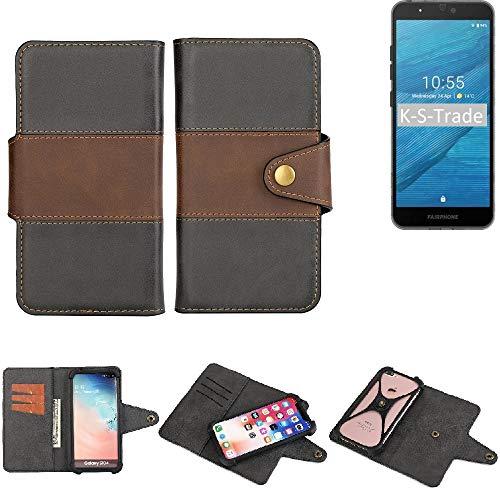 K-S-Trade Handy-Hülle Schutz-Hülle Bookstyle Wallet-Case Für Fairphone Fairphone 3 Bumper Rundumschutz Schwarz-braun 1x