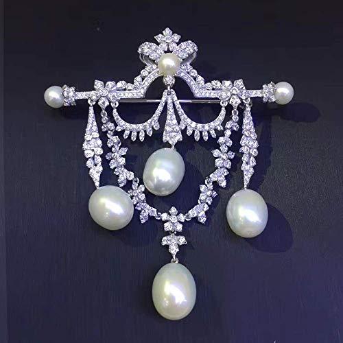 HYLH Natürliche Süßwasserperlen Brosche Pins 925 Sterling Silber mit Kubikzircon Vintage Victoria Tear Drop Form