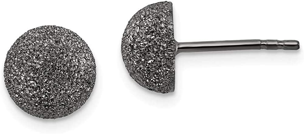 Sterling Silver Ranking TOP15 Recommended Black Ruthenium Earrings Finish Satin Post