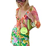 ZhaZhaMeng Blusa de manga larga con volantes para mujer, diseño de flores, malla estampada con perspectiva de lazo de cierre de verano Y2K Streetwear Top
