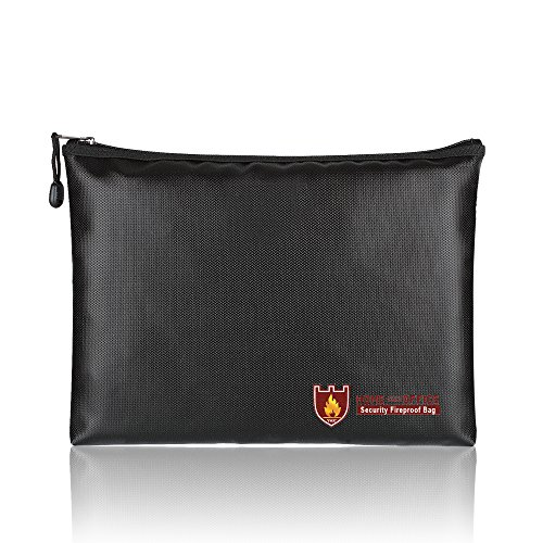 Fireproof Bags, A4 Size Waterproof and Fireproof Document Bag with Fireproof Zipper for iPad, Money, Jewelry, Passport, Document Storage