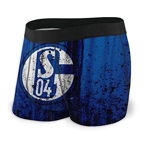 Sch-Alk-E 0-4 FC Logo Herren Boxershorts enganliegend Kompressionsslip Unterwäsche Low Waist Unterwäsche Shorts, Schwarz , L
