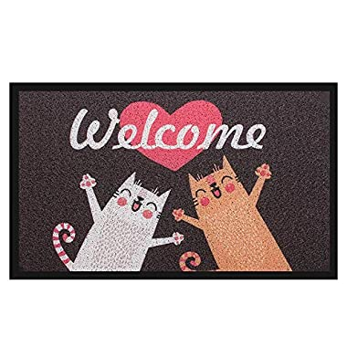 Pragovle Welcome Door mat Funny Rugs for Outdoor Home and Garden (18'X30'(45cmX75cm), 2Welcome Cat)