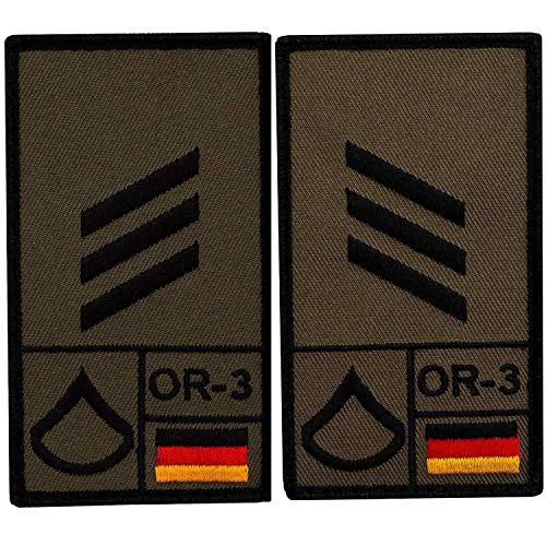 Café Viereck ® Hauptgefreiter B&eswehr Rank Patch mit Dienstgrad - Gestickt mit Klett - 9,8 cm x 5,6 cm - 2 Stück