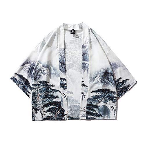 Haori - Kimono japonés para hombre, cárdigan de ropa callejera Yukata masculina camisa Haori para hombre, kimono tradicional japonesa Samurai, color blanco -XL