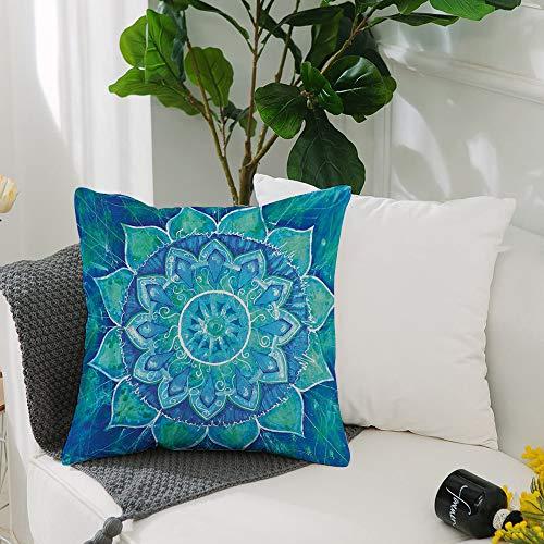 Fundas Cojines de Poliéster -50x50cm,Chakra azul geométrico, efecto de pintura de acuarela Batik Ika,Fundas de Almohada Decoración con Cremallera Invisible para Sala de Estar, sofá, Dormitorio
