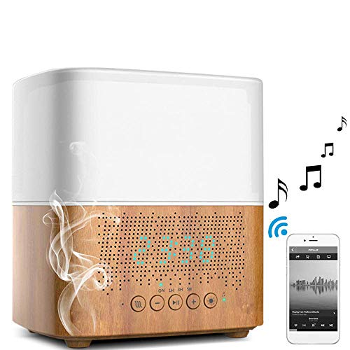 LIUJIE Wecker Bluetooth-Lautsprecher mit Luftbefeuchterlampe, tragbare Verdampfer-Funklautsprecher-Subwoofer mit Buntem LED-Licht
