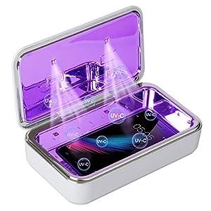 Fortand Sterilizzatore UV, LED UV Scatola con Stazione di Ricarica wireless per Smartphone, Funzione Aromaterapia, Sterilizzatore UVC Disinfettante per Cellulari Orologi Mascherine Sterilizza Il 99,9%