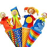 JSJJARF Fingerpuppen Baby Spielzeug Nette Clown Pop Up Puppen, 23cm Holz Teleskopstab-Puppe, Kinder Kinder Geburtstagsgeschenke, Plüschpuppe Spielzeug für Säugling (Height : 23cm)