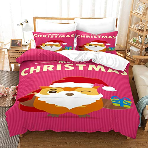 Duvet Cover Bedding Set White brown yellow blue red christmas owl Single 53.15 x 78.74 inch Ultra Soft Easy Care With–Hotel Quality Bedding Sets 2 Pillowcase19.68 x 29.53 inch