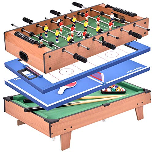 Giantex Multi Game Table, 4 in 1 32'' Combo Mini Game Table Top w/Soccer, Slide Hockey, Billiard, Table Tennis, Perfect for Game Room,...