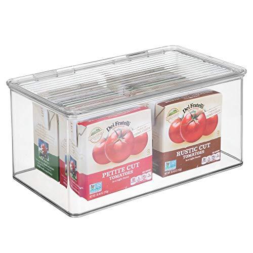 mDesign Organizador de Cocina con Tapa – Cajas apilables de Almacenamiento para despensa y estantes de Cocina – Organizador de Nevera para té, café y Aperitivos de plástico sin BPA – Transparente