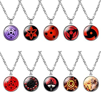 Vinctik 6&Fox Naruto Necklace Set Naruto Contacts Lenses Round Eye Pendant Chain Necklace Sharingan Necklace for Anime Cosplay Multi-10pcs