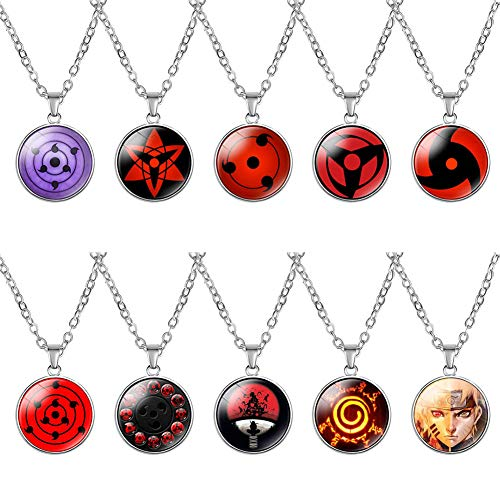 Vinctik 6&Fox Naruto Necklace Set, Naruto Contacts Lenses Round Eye Pendant Chain Necklace Sharingan Necklace for Anime Cosplay(Multi-10pcs)