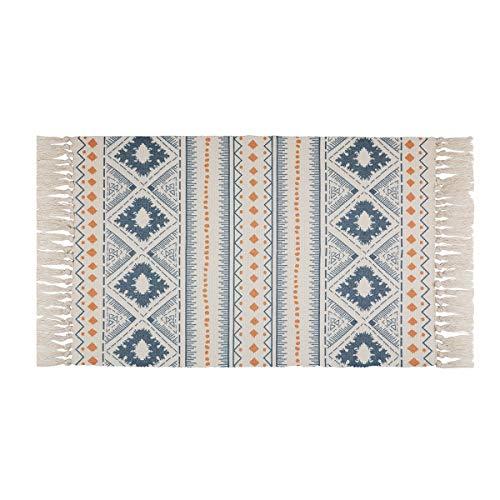 UArtlines Dywany bawełniane, niebieskie i żółte bawełniane frędzle, tkane dywany do kuchni, salonu 60 x 90 cm