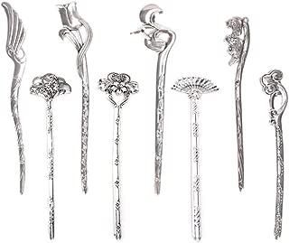 Ujuuu 8 Pcs Retro Metal Silver Oriental Hair Stick Pin for Buns Chignon Maker, Decorative Hair Chopsticks Hair Pin Pick, Hair DIY Jewelry for Women Girls Gift