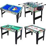 KAKIBLIN 4 in 1 Multi Combo Game Table Set for Kids, Billiard Pool Table, Tabletop Foosball Table, Kids Hockey...