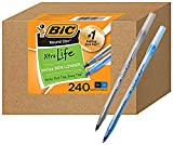 BIC PENS Large Bulk Pack of 240 Ink Pens, Bic Round Stic Xtra Life Ballpoint Pens Medium point 1.0 mm, 120 Black Pens & 120 Blue Pens in Box Combo Pack