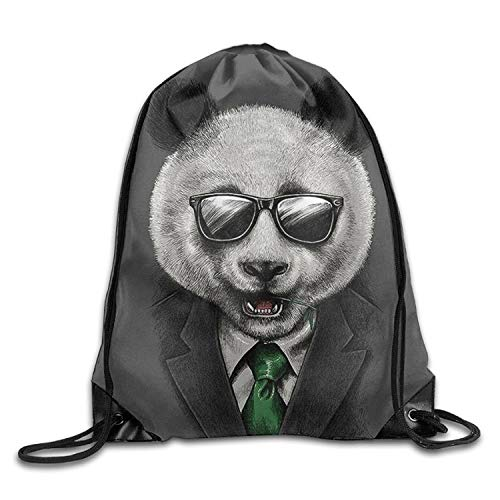 jingqi Reisetasche,Leichter Turnbeutel,Rucksack Mit Kordelzug,Kordelzug Rucksack Rucksack Umhängetaschen Sporttasche Leichter Reiserucksack EIN Panda Im Anzug